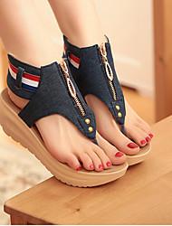 cheap -Women's Sandals Wedge Heels Wedge Heel Cap-Toe Denim Comfort / Novelty Summer Light Blue / Blue / EU42
