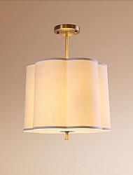 abordables -QIHengZhaoMing 3 lumières Lampe suspendue Lumière d'ambiance Laiton Métal Tissu Protection des Yeux 110-120V / 220-240V Blanc Crème Ampoule incluse / E26 / E27