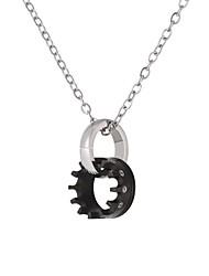 Недорогие -Ожерелья с подвесками Шестерня Круг блокировки Мода Нержавеющая сталь Черный Розовое золото 55 cm Ожерелье Бижутерия Назначение Повседневные