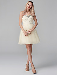 cheap -Ball Gown Sparkle & Shine Cute Cocktail Party Dress Sweetheart Neckline Sleeveless Short / Mini Chiffon Beaded Lace with Lace Crystals 2020