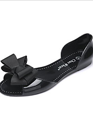 cheap -Women's Flats Flat Heel Open Toe Comfort Outdoor PVC Leather Leatherette Summer Almond Black Red