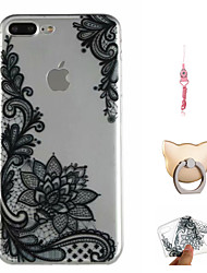 cheap -Case For Apple iPhone X / iPhone 8 Plus / iPhone 8 Pattern Back Cover Cartoon / Lace Printing / Flower Soft TPU