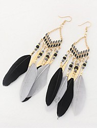 cheap -Cubic Zirconia Drop Earrings Feather Ladies Ethnic Fashion Oversized Native American Feather Earrings Jewelry Light Yellow / Red / Blue For Party Valentine