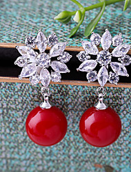 cheap -Women's Cubic Zirconia Clip on Earring Flower Fashion Earrings Jewelry Red For Wedding Engagement One-piece Suit