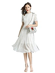 cheap -Women's Daily Chinoiserie Sheath Dress - Solid Colored Lace Summer White L XL XXL