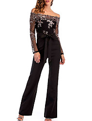 cheap -Women's Off Shoulder Lace Party / Going out Sexy Off Shoulder Black Slim Jumpsuit Onesie, Color Block / Solid Colored Sequins S M L Long Sleeve Summer