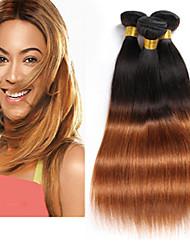 abordables -Lot de 3 Tissage de cheveux Cheveux Brésiliens Droit Extensions de cheveux Naturel humains Cheveux Naturel Rémy Paquets de 100% Remy Hair Weave 300 g A Ombre 8-26 pouce A Ombre Libérer gratuitement