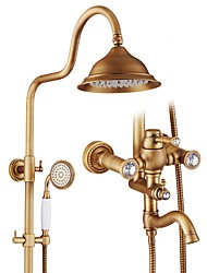cheap -Shower Faucet - Antique Antique Bronze Tub And Shower Ceramic Valve Bath Shower Mixer Taps / Brass / Single Handle One Hole