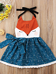 cheap -Toddler Girls' Active Daily Going out Floral Print Color Block Backless Lace up Patchwork Sleeveless Above Knee Dress Royal Blue