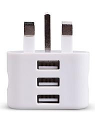 cheap -Portable Charger USB Charger UK Plug 3 USB Ports 2.1 A 100~240 V for