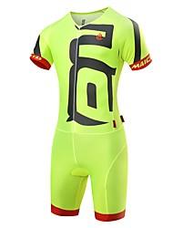 cheap -Malciklo Men's Triathlon Tri Suit - White / Black / Green / Yellow Bike Clothing Suit Quick Dry Anatomic Design Ultraviolet Resistant Reflective Strips Sports Spandex Solid Color Triathlon Clothing