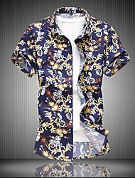 cheap -Men's Geometric Shirt Basic Beach Classic Collar Yellow / Blushing Pink / Short Sleeve