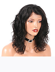cheap -Remy Human Hair Lace Front Wig Bob Short Bob style Brazilian Hair Wavy Wig 130% Density Women's Short Human Hair Lace Wig beikashang