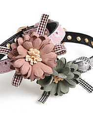 cheap -Dogs Cats Collar Foldable Decoration Flower / Floral PU Leather / Polyurethane Leather Gray Pink Dalmatian Shih Tzu