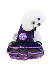 cheap -Pets Dress Dog Clothes Purple Blue Costume Cotton / Polyester Net Voiles & Sheers Flower / Floral Flower Style Cute XS S M L XL