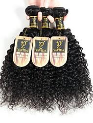 Недорогие -3 Связки Перуанские волосы Кудрявый человеческие волосы Remy Необработанные натуральные волосы 150 g Накладки из натуральных волос Черный Естественный цвет Ткет человеческих волос / 10A