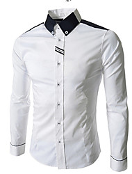 cheap -Men's Daily Work Business / Street chic Cotton Slim Shirt - Color Block Black & White, Basic Button Down Collar White / Long Sleeve
