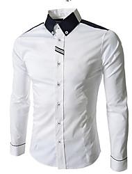 cheap -Men's Color Block Black & White Basic Slim Shirt - Cotton Business Street chic Daily Work Button Down Collar White / Gray / Long Sleeve