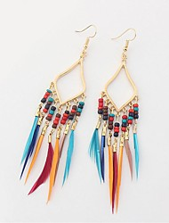 cheap -Cubic Zirconia Drop Earrings Feather Ladies Vintage Ethnic Fashion Oversized Native American Feather Earrings Jewelry Rainbow / Red / Green For Wedding Date