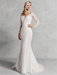 cheap -Mermaid / Trumpet V Neck Sweep / Brush Train Lace / Satin / Tulle Long Sleeve Beautiful Back Made-To-Measure Wedding Dresses with Lace 2020