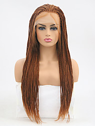 cheap -Synthetic Lace Front Wig Straight Braid Lace Front Wig Long Medium Auburn Synthetic Hair Women's Heat Resistant Brown