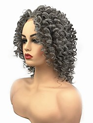 cheap -Synthetic Lace Front Wig Curly Bob Lace Front Wig Medium Length Grey Synthetic Hair Women's African American Wig Dark Gray StrongBeauty