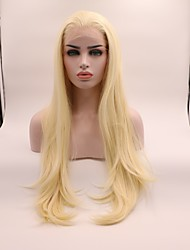 cheap -Synthetic Lace Front Wig Straight Layered Haircut Lace Front Wig Blonde Medium Length Light Blonde Synthetic Hair Women's Curler & straightener Blonde