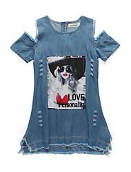 cheap -Kids Girls' Street chic Daily Going out Patchwork Patchwork Short Sleeve Knee-length Dress Blue / Cotton