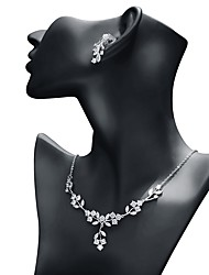 cheap -Women's Cubic Zirconia Jewelry Set Drop Earrings Pendant Necklace Leaf Classic Fashion Earrings Jewelry White For Wedding Evening Party