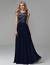 cheap -A-Line Jewel Neck Floor Length Chiffon / Lace Elegant / Beaded & Sequin Prom / Formal Evening Dress with Beading / Pleats 2020