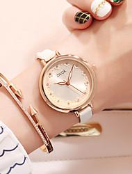cheap -Women's Dress Watch Wrist Watch Quartz Leather White / Rose 30 m New Design Casual Watch Imitation Diamond Analog Ladies Flower Fashion - White Fuchsia Two Years Battery Life