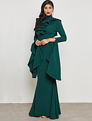 cheap -Women's Ruffle Plus Size Party / Work Street chic / Sophisticated Maxi Slim Bodycon / Sheath / Trumpet / Mermaid Dress - Solid Colored Backless / Ruffle High Waist Crew Neck Summer Green Yellow XL