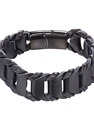 cheap -Men's Leather Bracelet Braided Simple Fashion Initial Stainless Steel Bracelet Jewelry Black / Brown For Daily