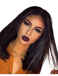 cheap -Remy Human Hair Lace Front Wig Bob Short Bob Kardashian style Brazilian Hair Straight Wig 130% Density Women's Human Hair Lace Wig beikashang