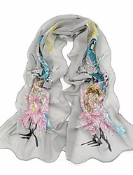cheap -Women's Basic Chiffon Rectangle Scarf - Floral