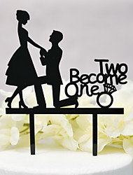 cheap -Cake Topper Classic Theme / Wedding Cut Out Acryic / Polyester Wedding / Anniversary with Sided Hollow Out 1pcs OPP