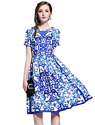 cheap -Women's Blue Dress Chinoiserie Summer Daily Sheath Geometric Print S M