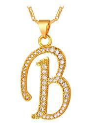 cheap -Men's Cubic Zirconia Pendant Necklace Monogram Name Alphabet Shape Letter Fashion Copper Gold Silver 55 cm Necklace Jewelry For Gift Formal