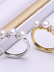 cheap -Women's Open Ring Cubic Zirconia / Freshwater Pearl Gold / Silver Stainless Steel / Silver Plated / Gold Plated Circle Simple / Korean / Fashion Party / Gift Costume Jewelry / Alloy