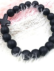 cheap -Onyx Turquoise Obsidian Bead Bracelet Cross Ladies Simple Natural Black Pearl Bracelet Jewelry Black / Red / Light Blue For Daily School / Natural Stone