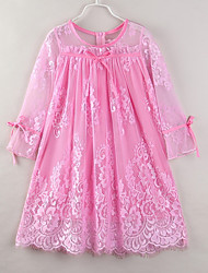 cheap -Kids Girls' Basic Boho Daily Beach Solid Colored Ruffle Ruched Long Sleeve Midi Dress Blushing Pink