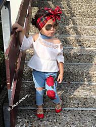 abordables -Bébé Fille Actif Basique Quotidien Anniversaire Couleur Pleine Demi Manches Manches Courtes Normal Normal Coton Ensemble de Vêtements Bleu
