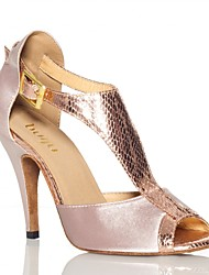 cheap -Women's Latin Shoes Satin Sneaker Satin Flower Slim High Heel Dance Shoes Almond / Dark Purple / Practice