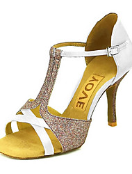cheap -Women's Dance Shoes Satin / Silk Latin Shoes / Salsa Shoes Buckle / Ribbon Tie Sandal / Heel Customized Heel Customizable Bronze / Almond / Nude / Performance / Leather / Professional / EU39