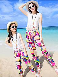 cheap -Adults Kids Women's Boho Going out Beach Color Block Sleeveless Tee White