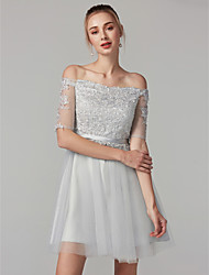 cheap -A-Line Lace Up Cute Holiday Cocktail Party Dress Off Shoulder Half Sleeve Short / Mini Tulle Lace Bodice with Sash / Ribbon 2020