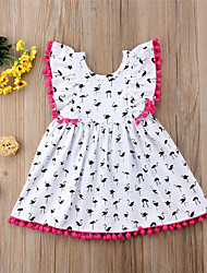 cheap -Toddler Girls' Active Boho Daily Holiday Crane Patchwork Tassel Print Sleeveless Knee-length Dress White / Cotton