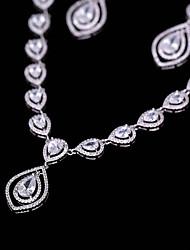 cheap -Women's Cubic Zirconia Jewelry Set Drop Earrings Pendant Necklace Fashion Elegant Earrings Jewelry White For Wedding