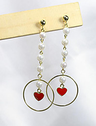 cheap -Women's Pearl Freshwater Pearl Drop Earrings Tassel Long Heart Ladies Simple Sweet Fashion Stainless Steel Gold Plated S925 Sterling Silver Earrings Jewelry Red For Party Date