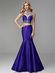 cheap -Mermaid / Trumpet High Neck Floor Length Satin / Tulle Elegant & Luxurious / Two Piece / See Through Prom / Formal Evening Dress 2020 with Beading / Crystals